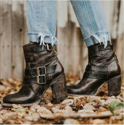 Retro Middle High Chunky Heels Ankle Boots
