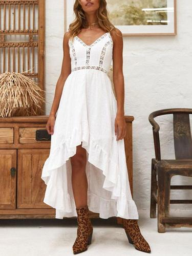 Fashion v-neck sling sexy hollow out splicing dress