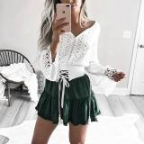 Fashion V Neck Long Sleeve Lace Patchwork Blouse