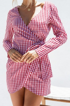 Casual V Neck Check Long Sleeve Mini Dresses