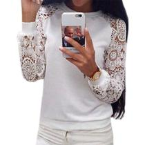 Casual Round Neck Lace Sleeve Long Sleeve Sweater