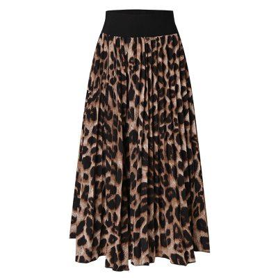 EBUYTIDE Sexy Women Skirt Women Leopard Print High Waist Skirt Ladies Evening Party Pleated Skirts Fashion Summer Mid Skirts