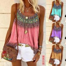 Women Printed Hand-painted Shoulder Strap Loose Crew Neck Vest T-shirts Tops