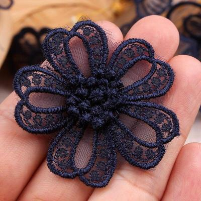 Navy Dark Blue lace embroidery patch sew on Clothes Organza Flower Butterfly embroidered patches for clothes Applique Stickers