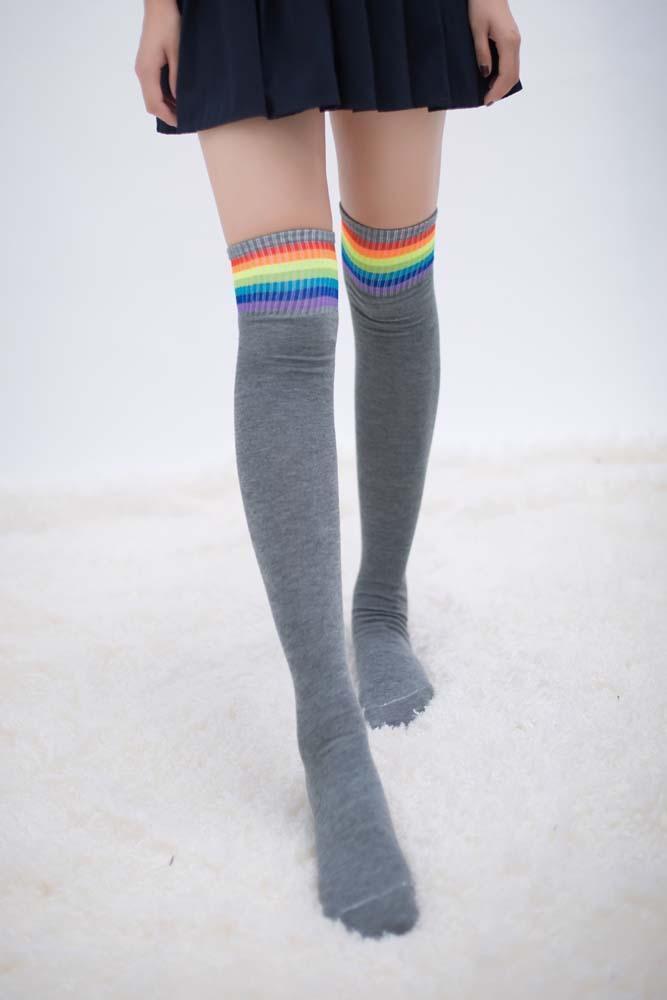 Fashion Rainbow Over Knee Stockings