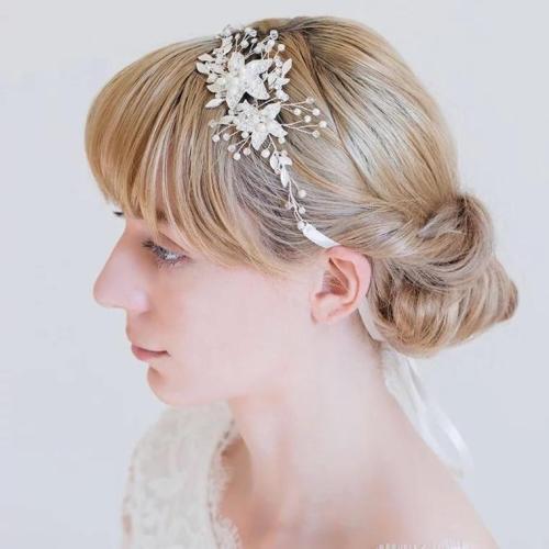 2020 Elegant Women Wedding Headwear Pearls Beaded Jewery With Ribbon Bridal  Gift Wedding Accessories