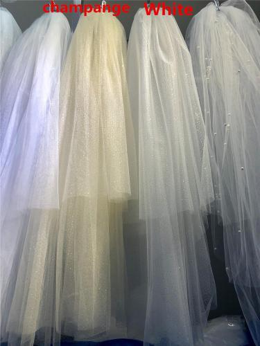 Bling Bling Two-Layer Bridal Short Wedding Veil  Shiny Sequined Glitter White Champagne Bridal Mesh Veil Metal Comb Elbow Length