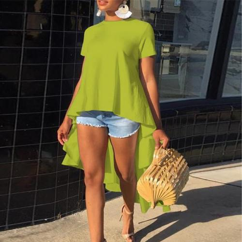 Fashion Pure Color Irregular Short Sleeved Blouse