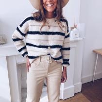 Stylish Striped Long Sleeve Sweater