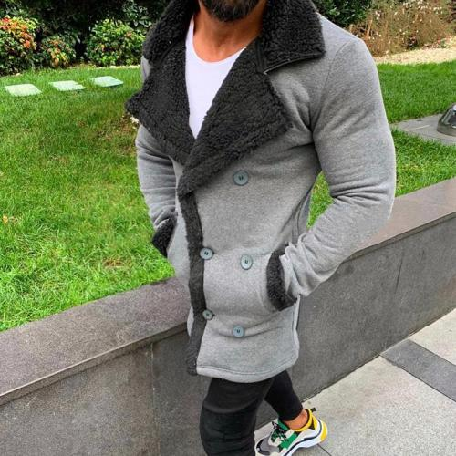 Fashion Turndown Collar Double-Breasted Mid-Length Woolen Coat