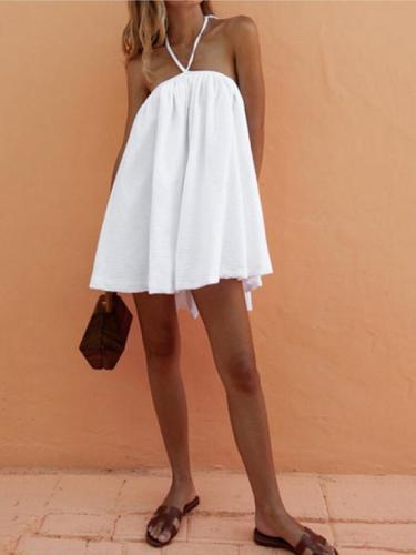 Sexy Backless Tube Top Halter Dress