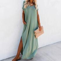 2020 Casual V-neck Short Sleeve Side Split Summer Dress Green Cotton Tunic Women Plus Size Beachwear Maxi Dress Robe Kaftan A403