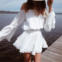 Sexy Off Shoulder Bell Sleeve Fringed Mini Dress