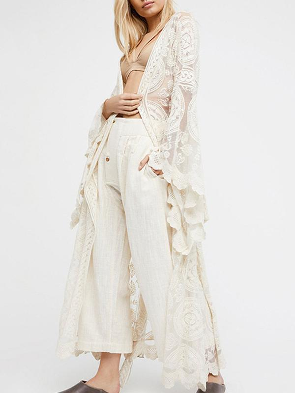 Sleeves White Lace Cover Up