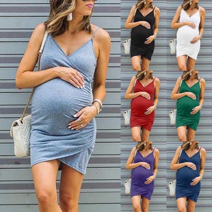 Maternity Plus Size Dresses Summer Sleeveless Dress Women Sexy Polka Dot Maternity Pregnant Sleeveless Nursing Boho Mini Dress