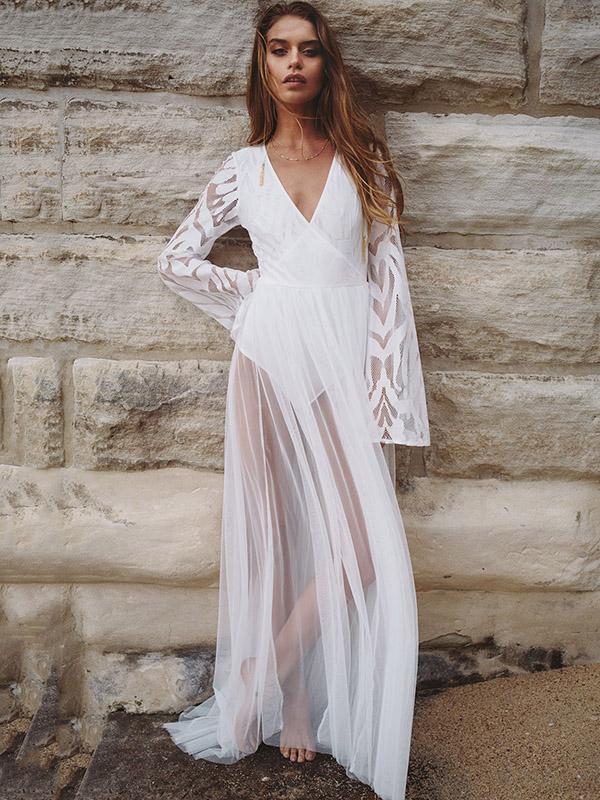 Flared Sleeves See-through Maxi Dress
