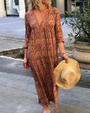 Vintage Elegant V-Neck 3/4 Sleeve Printed Loose Maxi Dress