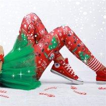 Christmas Print High-Waisted Pants