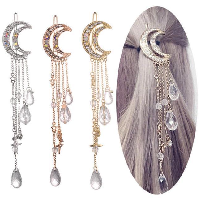 Retro Women Clip Moon Rhinestone Crystal Pendant Pin Tassel Long Chain Beads Hairpin Ladies Hair Jewelry Hair Clip