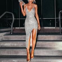 Sexy High Slit Silver Sequin Evening Dress