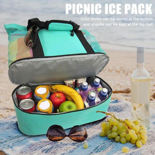 Foldable Big Capacity Outdoor Portable Picnic Beach Mesh Bags Handbag Storage Bag Park Toys Towel Clothes Organizer Swimming Bag