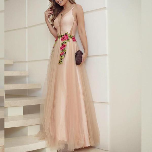 Retro Deep V Slip Mesh Evening Dress