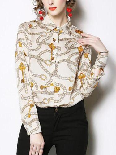 Casual Long Sleeve   Chain Printed Shirts