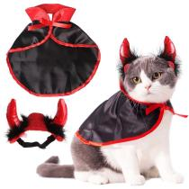 Halloween Pet Costumes Cute Cosplay Vampire Cloak Cat Dog Cap With Horns Kitten Puppy Cape Kawaii Pet Clothes Dog Accessoties