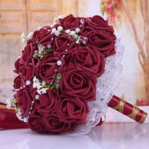 Bridal Bouquet Artificial with Ribbon Wedding Flower Bouquet 20*20 Cm Handmade Flowers for Wedding Party 2020 New Arrival