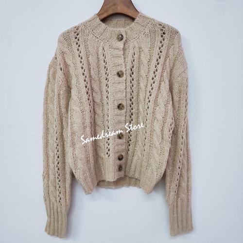 Retro women knitted Cardigan sweater single-breasted long sleeve loose lady sweater tops casual wild 2020 early autumn new