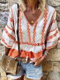 Casual V Neck Printed Colour Bracelet Sleeve Loose Top