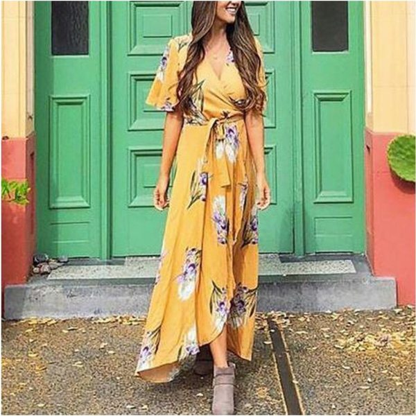Women Short sleeve Pregnant Maternity  Dresses Floral Print Sundress Sexy Beach Vestido pregnancy Dresses