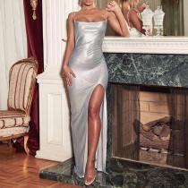 Retro Slip Side Slit Bodycon Dress