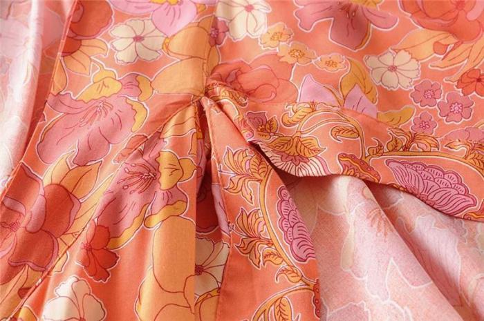 Boho Robe, Kimono Robe, Wild Floral Tangerine