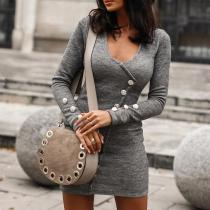 Solid Color Round Neck Sexy Knitted Dress