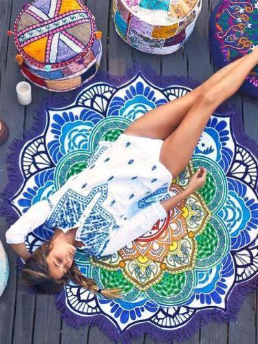 Bohemia Floral Tassels Round Shawl Beach Mat Yoga Mat