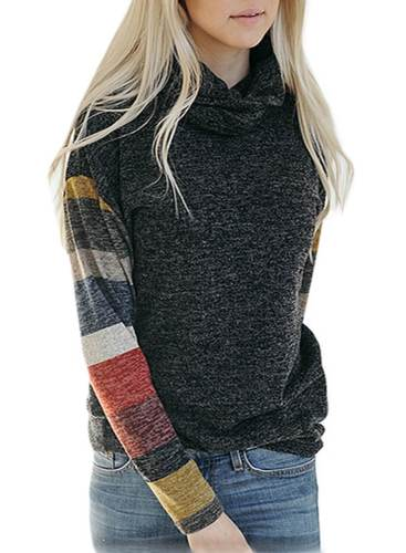 Turtleneck Color Block Sweatshirt