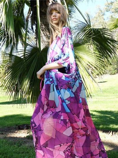 Chiffon Marble Print Beach Skirt Bikini Smock