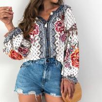 Fashion Printed V Neck Long Sleeve Shirt