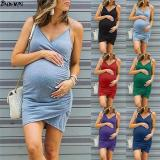 EBUYTIDE Plus Size Maternity Dress V Neck Pregnancy Clothes Solid Color Casual Sleeve Summer Pregnant Sundresses