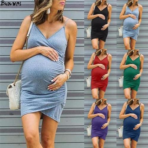 EBUYTIDE Plus Size Maternity Dress V Neck Pregnancy Clothes Solid Color Casual Sleeve Summer Pregnant Sundresses