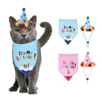 Pet Dog Girl Boy Happy Birthday Saliva Towel Decorative Collar Printed Bandanas Puppy Cats Scarfs Bibs for All Pets