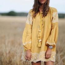Vintage Tassel Inwrought Long Sleeve Mini Dresses