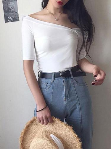 Fashion V Neck Off-Shoulder Short Sleeve T-Shirt
