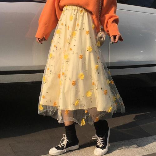 Yellow 3D Flower Lace Skrit Women High Waist Mesh Long Skrit Female elegant Midi tulle skirt Sweet Cute Student School Wear saia