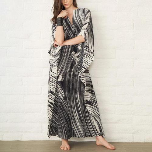 Fashion Black Line Bikini Sunscreen Casual Maxi Dress