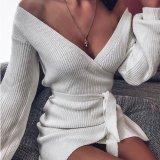 Wrap Over Deep V Neck Puff Shoulder Knit Dress