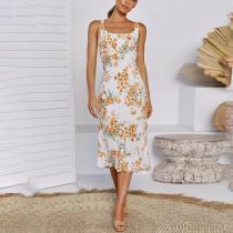 Stylish Wild Flower Print Shoulder Slim Sling Midi Dress