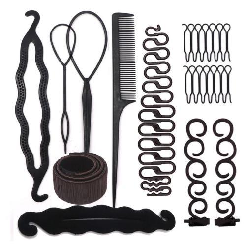 Women Hair Accessories Hair Styling Tools Magic Donut Hair Bun Maker Hairstyle Braider Twist Hair Clip Disk Pull Hairpins