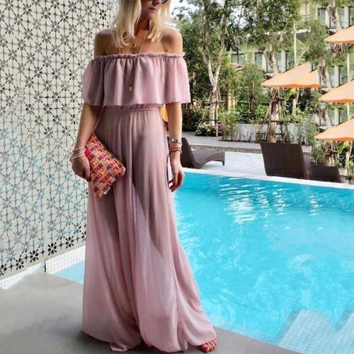 Bohemia Word Shoulder Pure Color Skirt